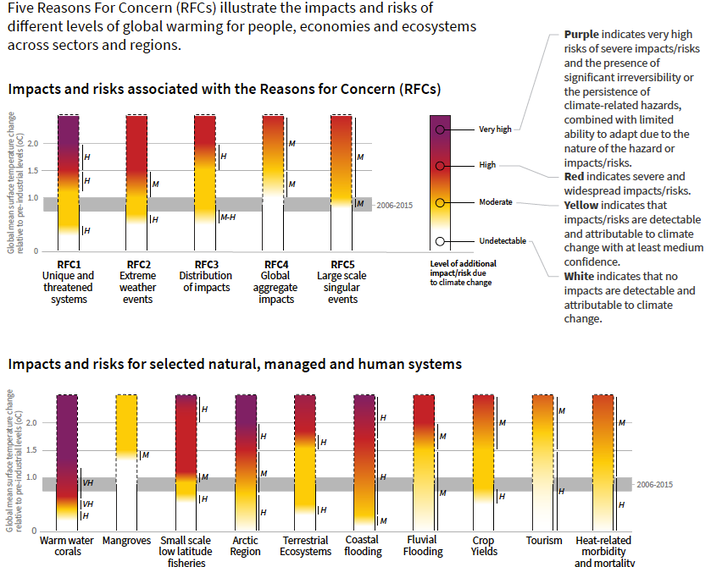 Impacts & Risks of 1-2.5°C Warming on 10 Systems & 5 Reasons for Concern